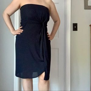 ASOS Navy Blue Strapless Dress with Drape Front